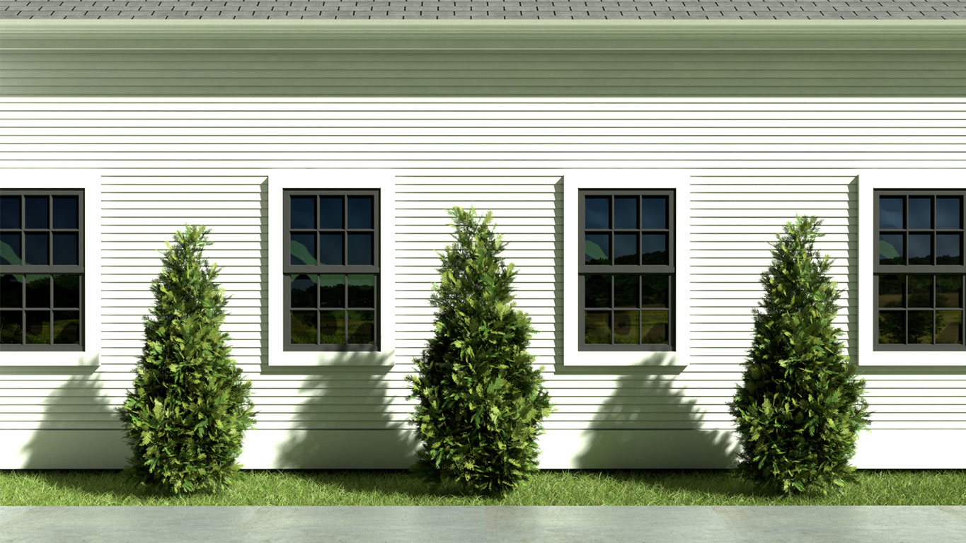 TCE3D Rendering: Pittsford Greek Revival Landscape Detail