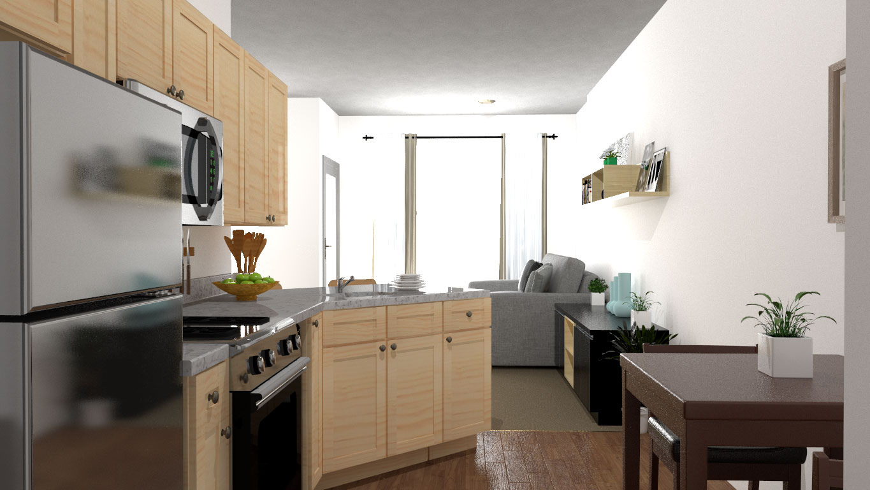3D Interior design for Williston Place Independent Senior Living Kitchen