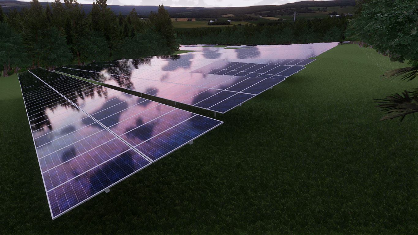 TCE3D Rendering Commercial Solar Array Evening, Bennington, VT
