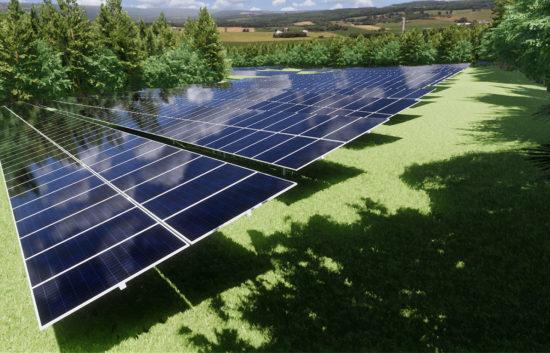 TCE3D Rendering Commercial Solar Array Daytime, Bennington, VT
